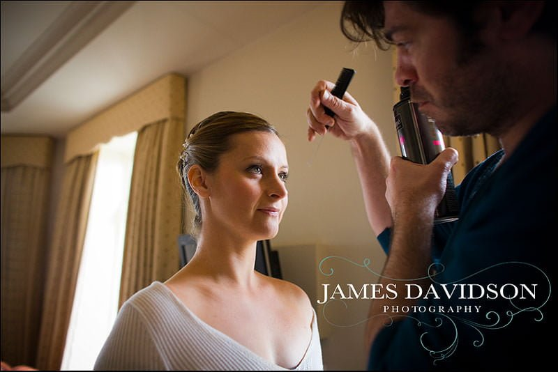 bridal prep at great fosters wedding