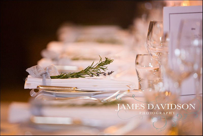 place settings for a wedding