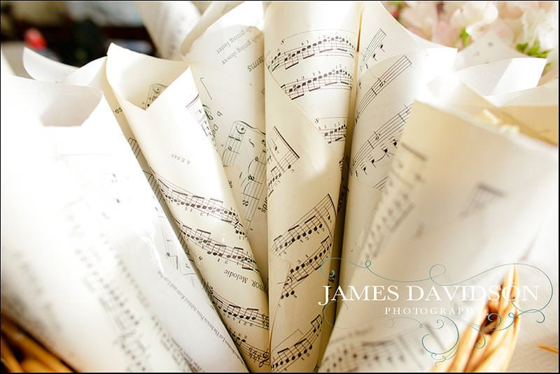Confetti wrapped in sheets of music