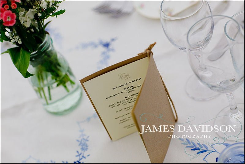 hand made menus for meal